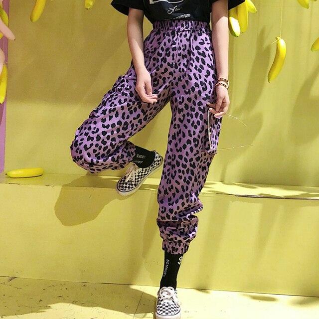 Purple leopard print for streetwear pants