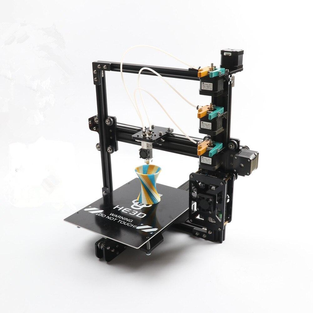 HE3D Nouvelle mise à jour tricolore bricolage 3D kit imprimante, 3 dans 1 sur extrudeuse, impression de grande taille 200*280*200mm