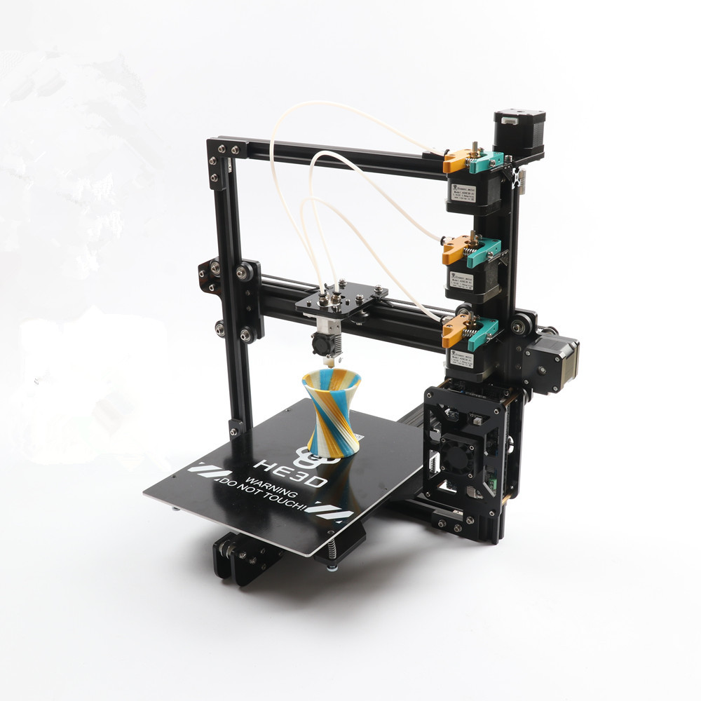 HE3D New upgrade tricolor DIY 3D printer kit, 3 in 1 out extruder ,large printing size 200*280*200mm
