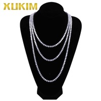 Xukim Jewelry 6mm Iced Out Tennis Necklace Link Chains for Men Gold Silver Rose Gold Color Rock Rapper Hip Hop Jewelry Gift