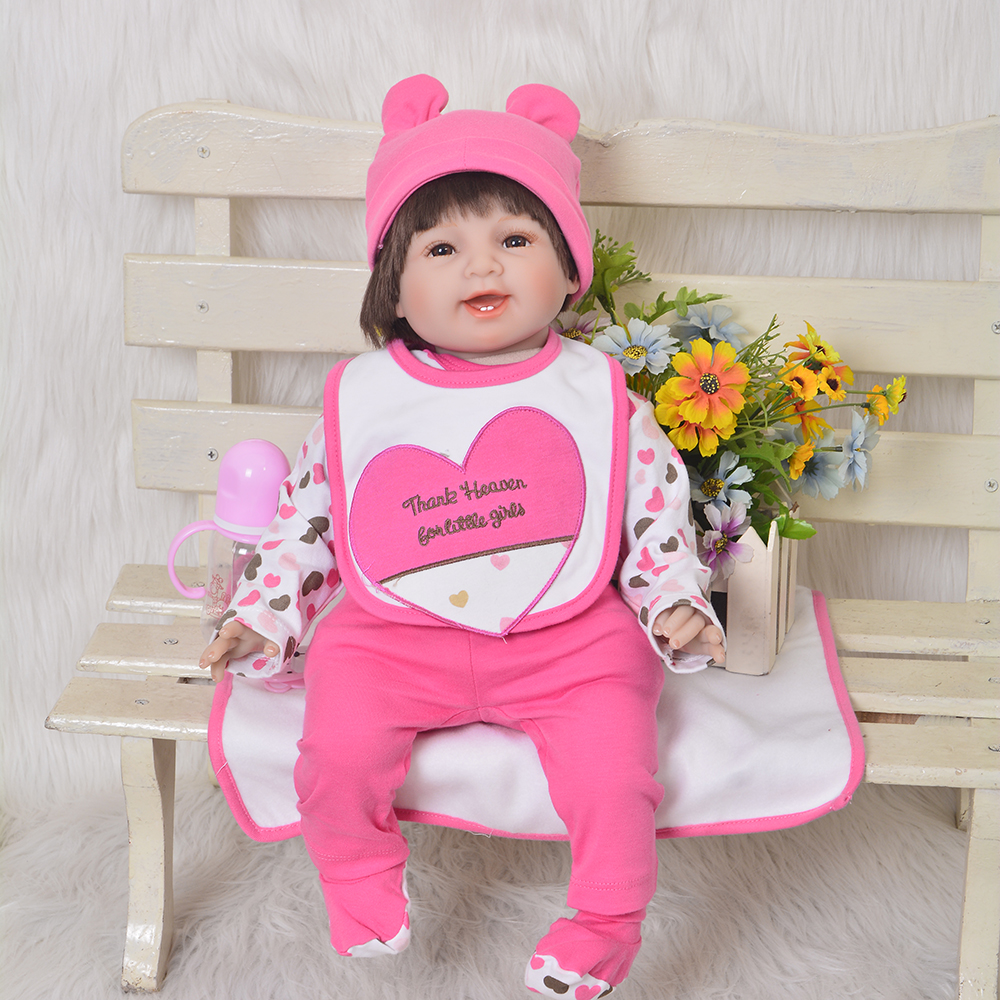 Фото Lovely Smiling 22 inch Soft Silicone Baby Dolls Realistic Reborn Baby Dolls 55 cm Fashion Kids Gifts For Girl Children