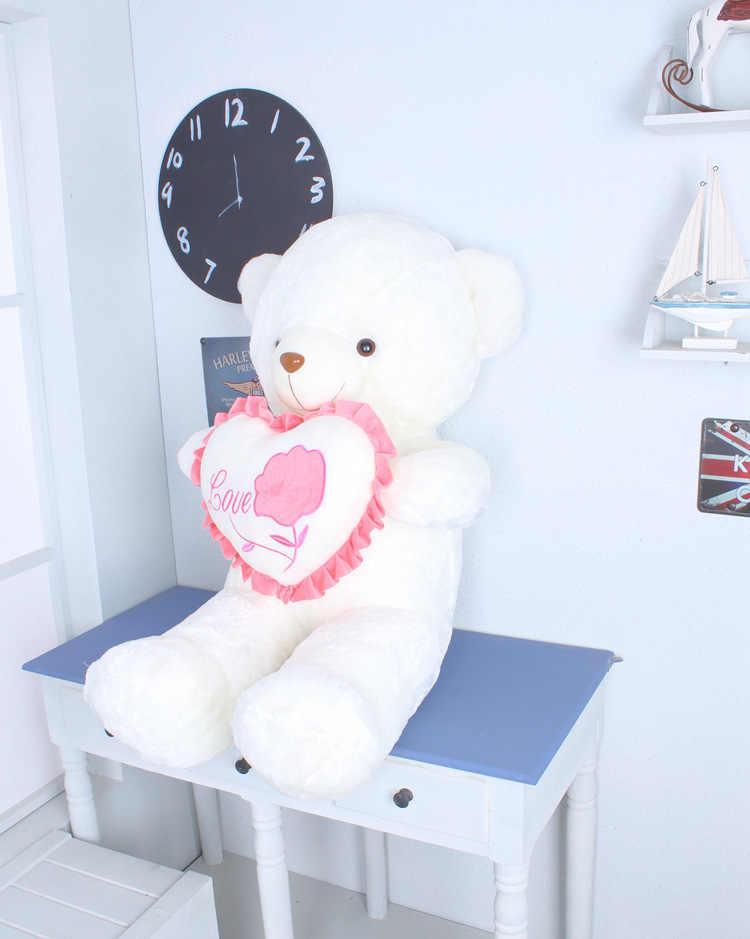 Grande 80 cm branco de pelúcia urso de brinquedo de pelúcia urso macio lance boneca travesseiro presente de Natal do amor do coração s2782