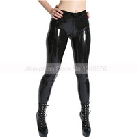 Female Sexy Tight Rubber Latex Pants with Feet Socks Women Leggings with Crotch Zip S LTW034