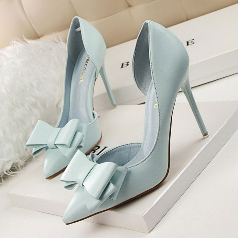 6d2cf8184977 Fashion female shoes delicate sweet bowknot high heel shoes woman sexy side  hollow pointed leather shoes