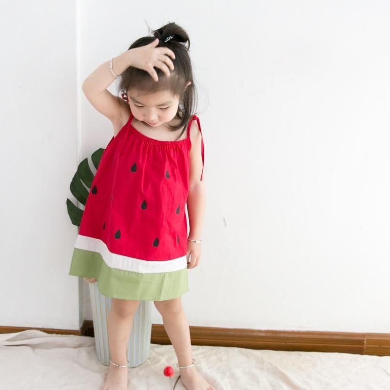 Baby Girl Dress Sleeveless Cotton Cute Fruit Watermelon Pattern Kids Summer Dresses Red 18M-5 Years Older