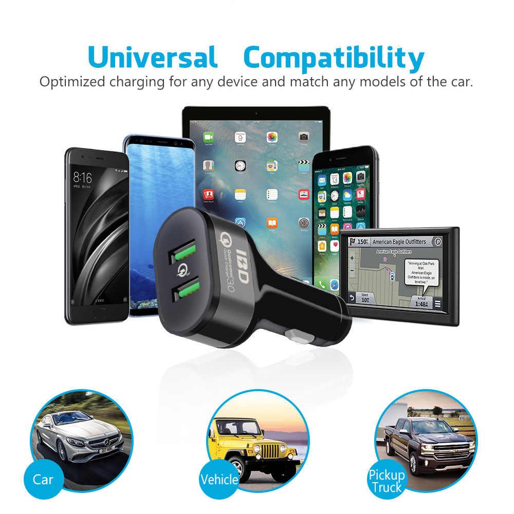 الهاتف المحمول شاحن USB سيارة شاحن الهاتف المزدوج 3.0 سريعة شحن الطاقة محول ل iphone8 سامسونج غالاكسي هواوي Xiaomi LG