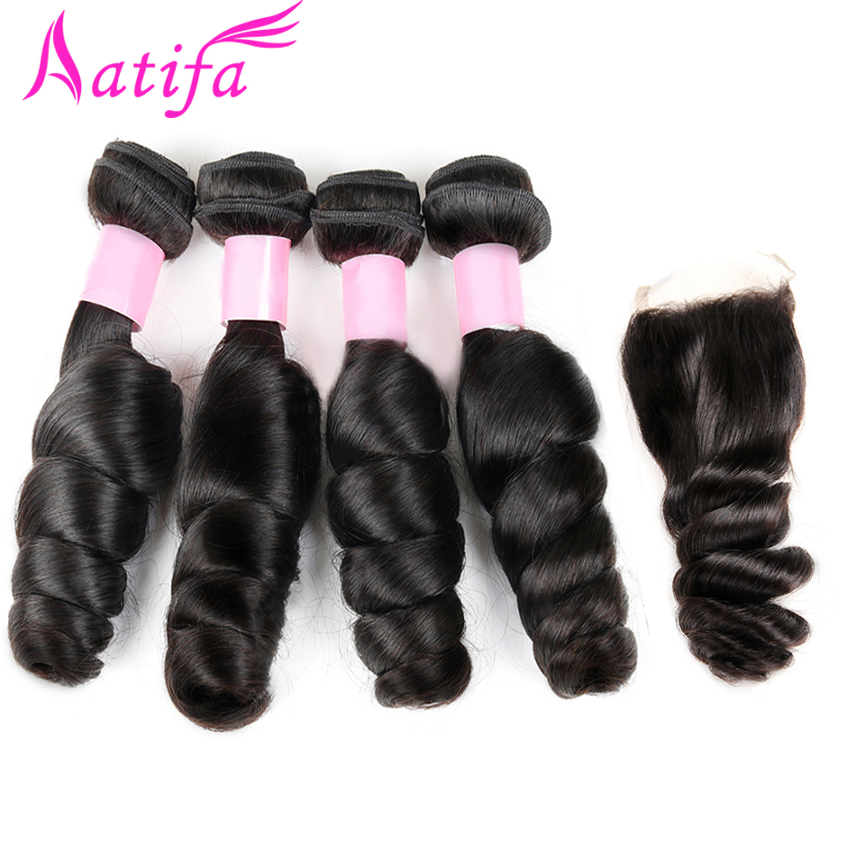 Brazilian Loose Wave Hair with Closure 4x4 inch Human Hair 4 Bundles with Closure 5pcs/lot Aatifa Remy Hair Weave Bundles-in 3/4 Bundles with Closure from Hair Extensions & Wigs    1