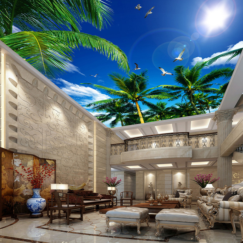 Mediterranean Style Coconut Trees Blue Sky Seagull Ceiling Mural Theme Hotel Living Room Decor Nature Wallpaper Ceiling Frescoes