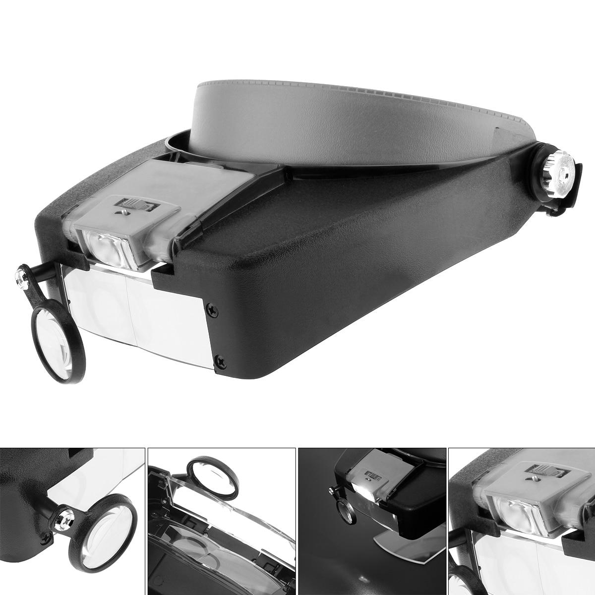10X ABS Schwarz + Grau Stirnband Lupe Kopf Lupe Linse Lupe mit LED-Licht und 3 Optische Objektiv für schmuck Reparatur