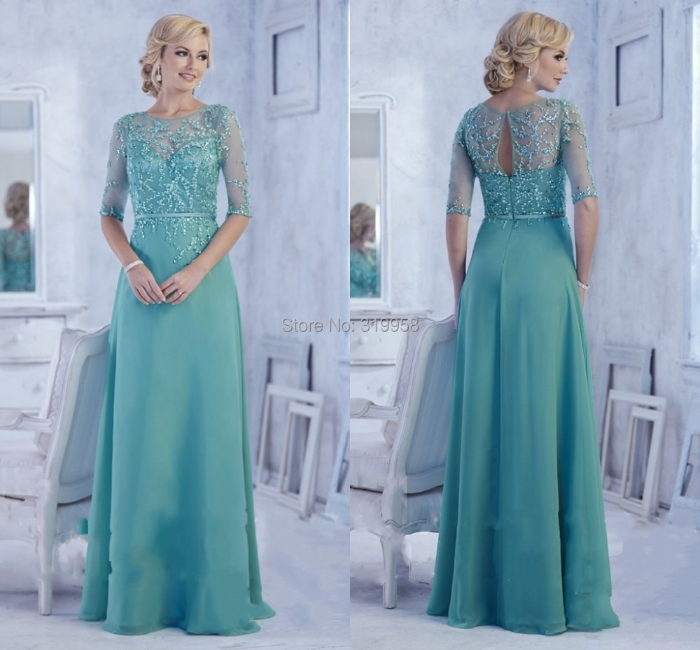Elegant Jade Color Long Mother Of The Bride Dress With Half Sleeve ...