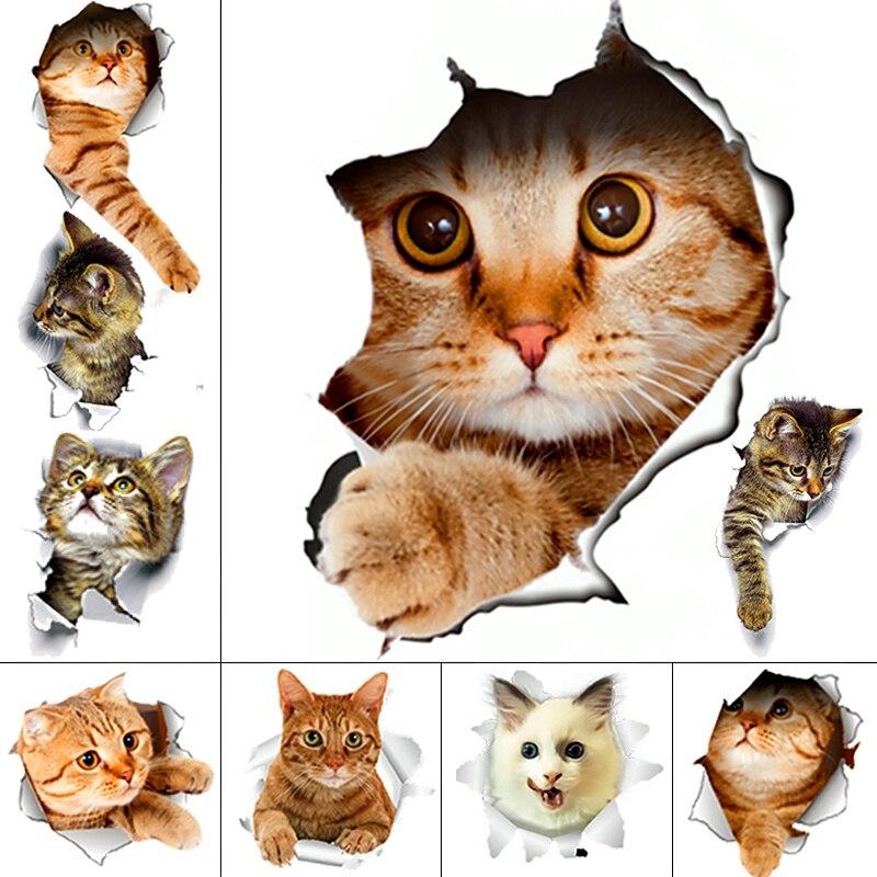 3d просмотра vivid кошки переключатель Туалет наклейки отверстие для ванной украшений мультфильм животных стены стикеры сделай сам Фреска Иск...