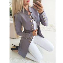 ВЗЛЕТНО посадочной полосы стиль для женщин золото пуговицы двубортный пиджак однотонная верхняя одежда Slim Fit Пальто