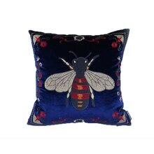 Pillow model room sofa hug pillowcase rural retro bee green velvet embroidery flower cushion cover Cushion Cover
