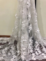 Latest African Lace Fabric 2018 High Quality African Lace flower Embroidery fabric Lace Applique For Wedding white