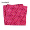 Smith 100% Pura Seda Natural Impreso Diseñador Del Mens de Lujo a medida Pañuelo de Bolsillo Cuadrado Pañuelo Paisley Red Nueva Moda de Lujo