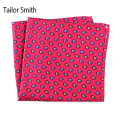 Tailor Smith 100% Pure Natural Silk Printed Mens Luxury Designer Hanky Red Paisley Pocket Square New Fashion Fancy Handkerchief
