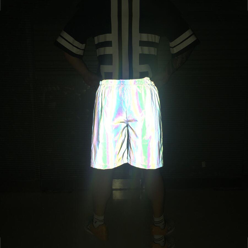New Fashion Mens 3M Reflective Shorts Night Colorful Hip Hop Summer for Male harajuku Boardshorts