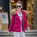 2016 Inverno New Fashion Magro Curto Tamanho Gola de Pele Com Capuz Manga Longa Engrossar Manter Quente Das Mulheres Para Baixo Casaco de Cor Sólida