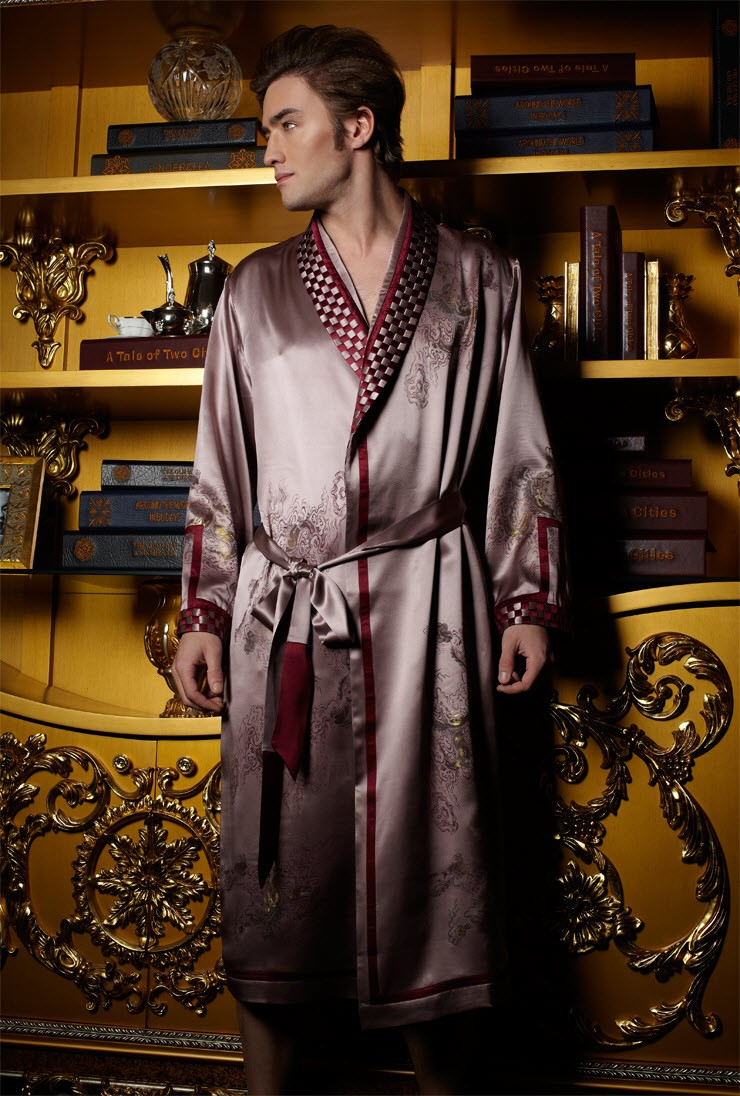 100% NWT Luxury Pure 19MM Silk Men Sleepwear Embroidered Kimono Robe ...