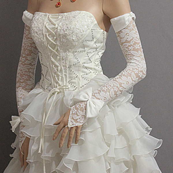2016 New Spring Summer Bride Bow Wedding Dress Gloves Red White Soft Fingerless Lace