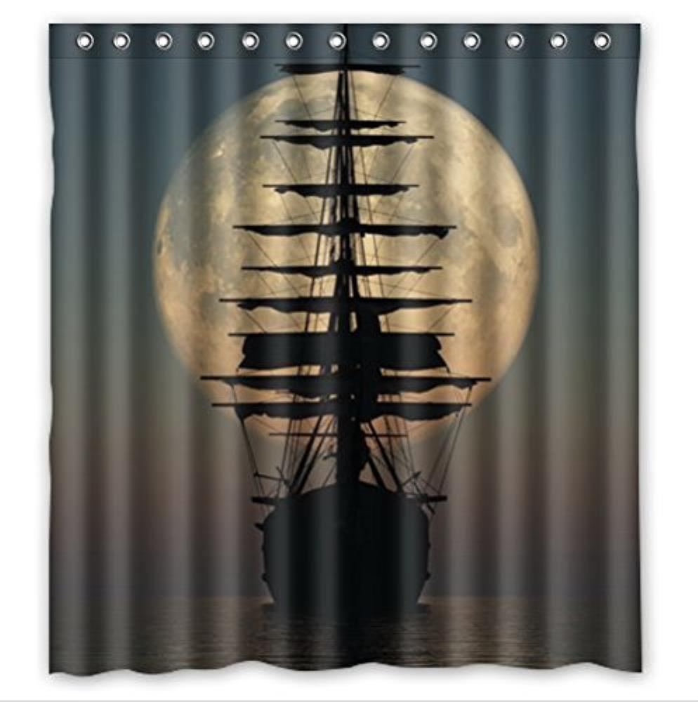 Vintage Sailing Pirate Ship in Moon Polyester Fabric Bathroom Shower Curtain 240