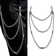 3 Layer New Punk Hip-hop Trouser Pants Waist Link Belt Metal Keychain Silver Wallet Chain Male Jeans chain jewelry