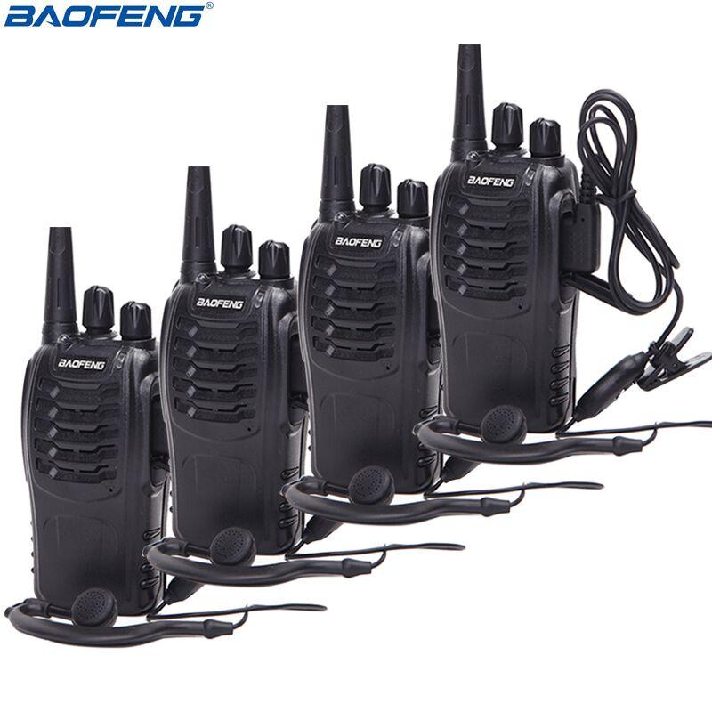 4Pcs Baofeng BF 888S Walkie Talkie UHF A Due Vie Radio BF888S Radio del Palmare 888S Comunicador Transceiver Trasmettitore + 4 cuffie-in Walkie-talkie da Cellulari e telecomunicazioni su  Gruppo 1