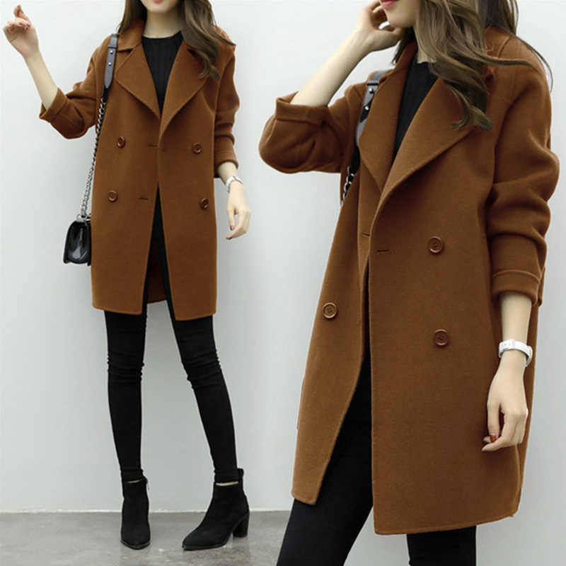 Autumn Winter Korean Thin Wool Womens Wool Blend Coat Turn Down Collar Slim Belt Double Breasted Loose and thin cocoons type