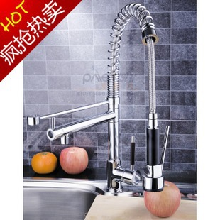German contemporary kitchen faucet copper hot spring rotating double water tank tap extraction type