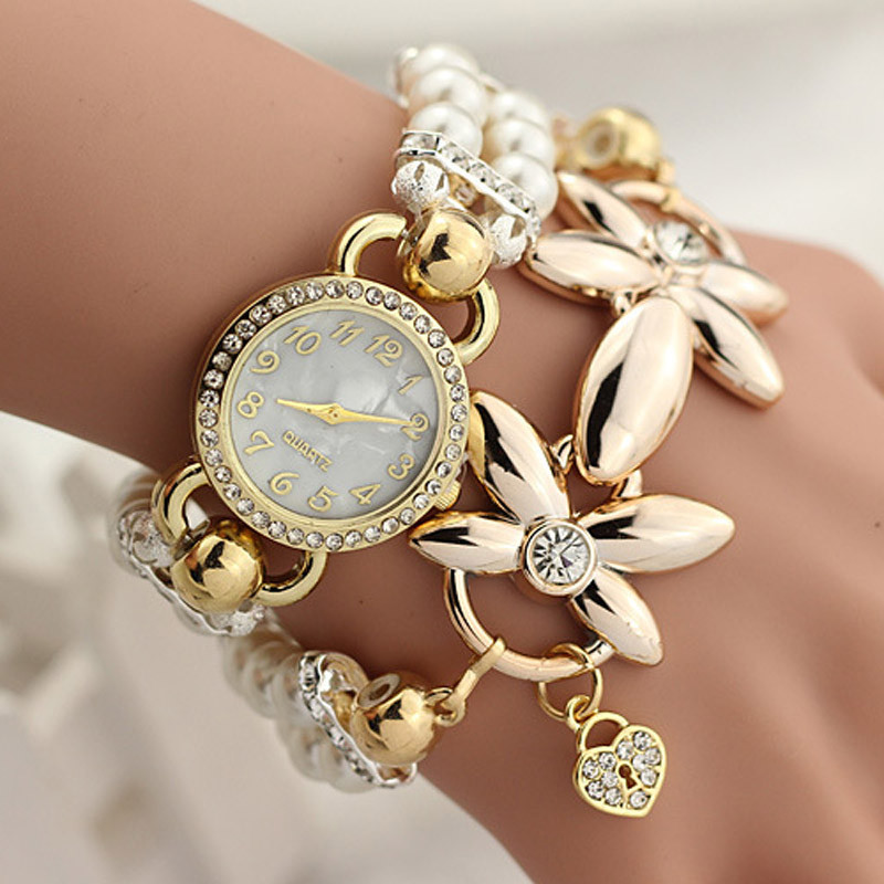 Luxury Flower Pearl Bracelet Watch Women Fashion Wristwatches Ladies Rhinestone Quartz Watch Relogio Feminino Montre Femme Sep26 meibo brand fashion women hollow flower wristwatch luxury leather strap quartz watch relogio feminino drop shipping gift 2012