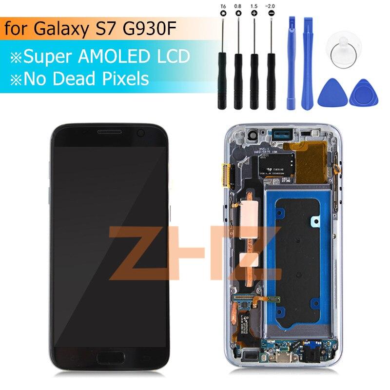 Super amoled pour samsung Galaxy S7 LCD G930F écran tactile numériseur assemblée avec cadre pour samsung s7 pièces de rechange outils