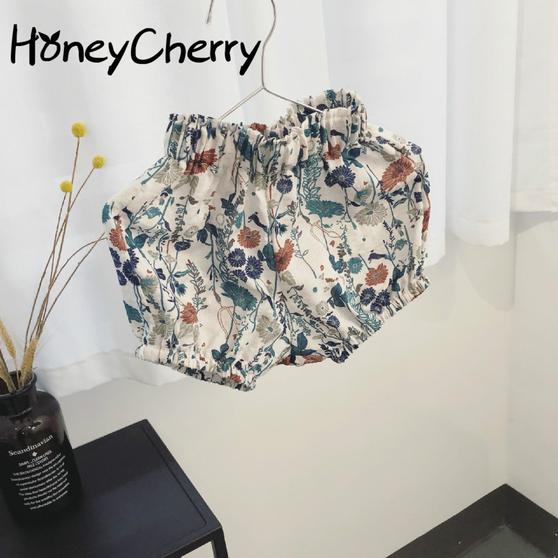 The Summer Girls Shorts Of 2018 Children Foreign Trade Pp Small Baby Pants Virgin Korean Female Floral Shorts Kids kids pineapple print tee with rolled hem shorts