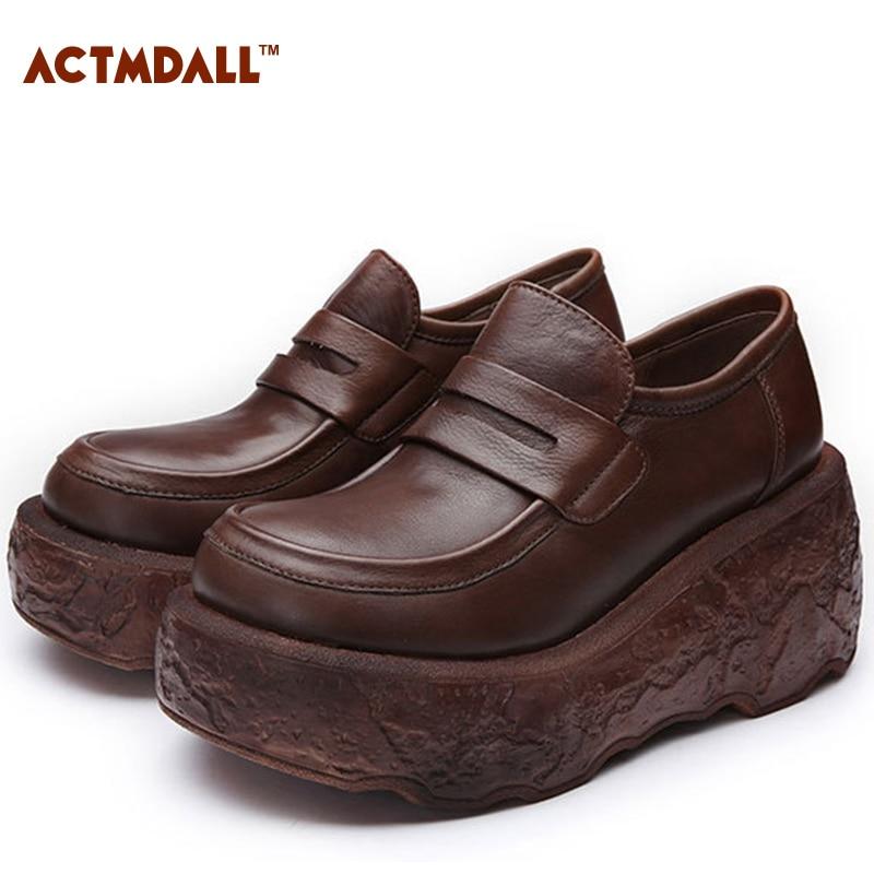 9215758e621fa2 La Chaussures Véritable Printemps Semelles À Main Talons Hauts forme Femme  Plate Femmes Pompes Cuir Confortables ...
