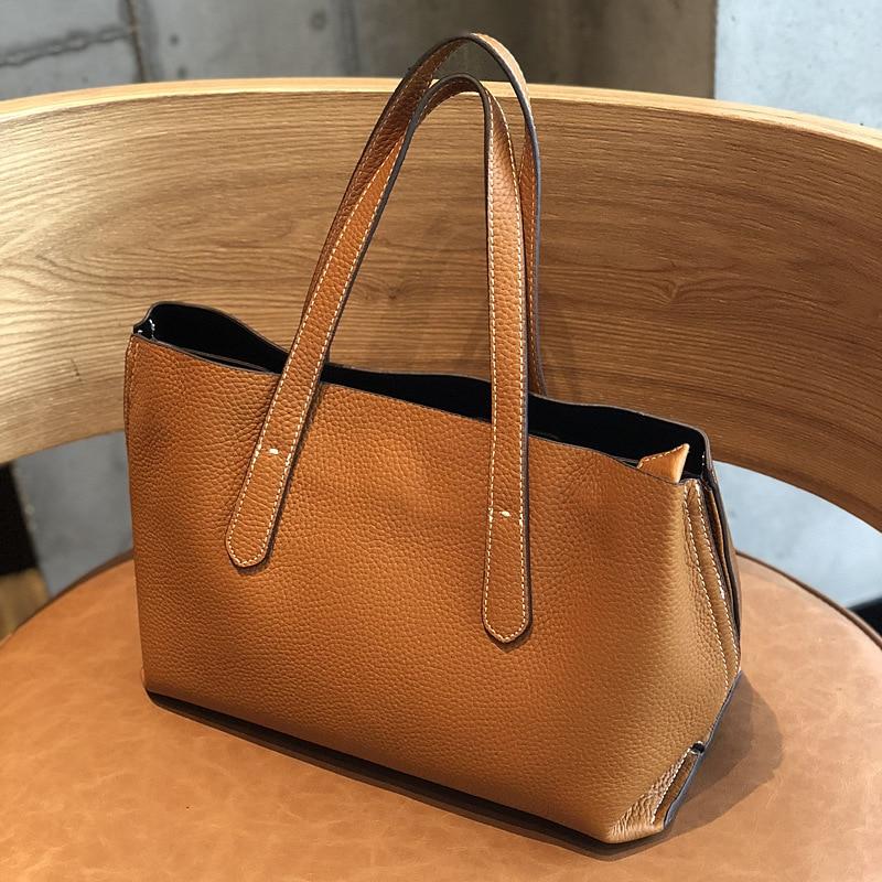 MZORANGE 2019 Large Capacity Women Fashion temperament Genuine Leather Shoulder Bag New Arrival Tote