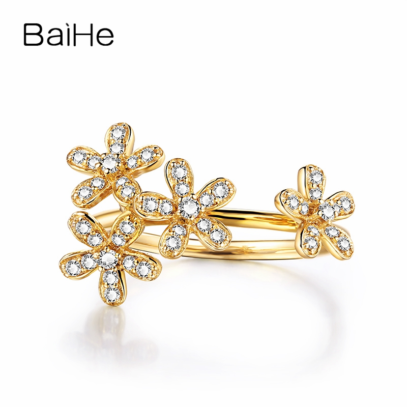 BAIEH Solid 14k Yellow Gold Elegant SI/H 100% Natural Diamonds Flower Women Engagement Wedding Ring Party Valentines day gifts BAIEH Solid 14k Yellow Gold Elegant SI/H 100% Natural Diamonds Flower Women Engagement Wedding Ring Party Valentines day gifts
