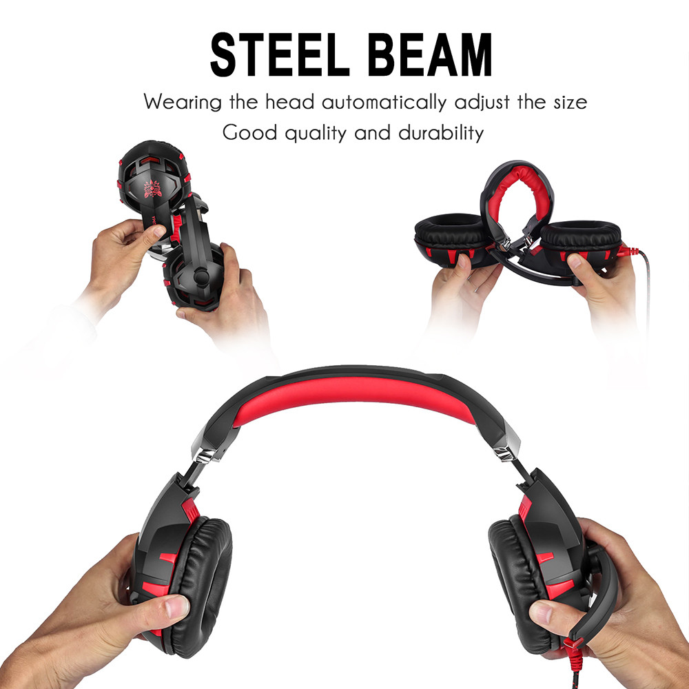 ONIKUMA K2 7.1 Surround Sound USB Gaming Headset Casque Wired PS4Xbox One Headphoes with Microphone Volume Control for Computer (10)