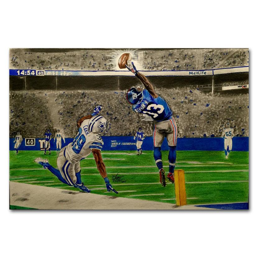 Odell Beckham One Handed Catch American football Wall Sticker Home Decoration Silk Art Poster image
