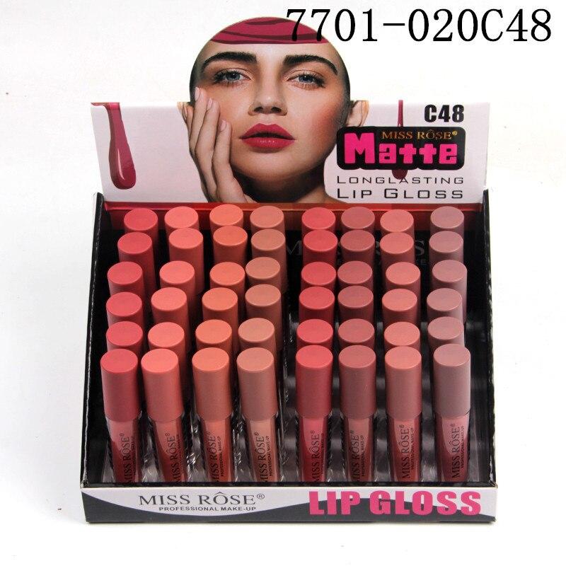 48 stks/partij Vloeibare Matte Lippenstift Waterdichte Sexy Rode Lip Kleur Lipgloss Moisturizer Fluwelen Matte Lipgloss Tint Make Up - 4
