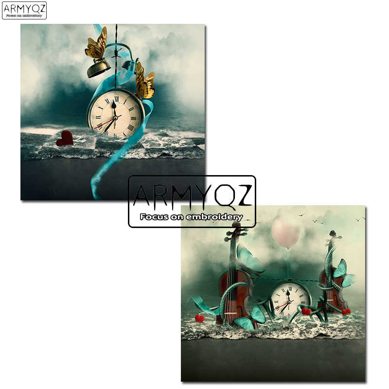 New Full 5D Diamond Embroidery Wall Clock DIY Diamond Painting Cross Stitch Scenery Sea Watch 3D Diamond Mosaic Butterfly violin