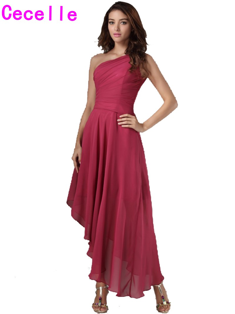 High Low One Shoulder Chiffon Bridesmaid Dresses Gowns Bohemian ...