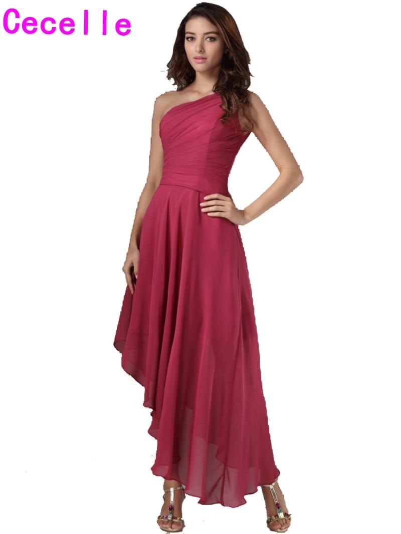 High Low One Shoulder Chiffon Bridesmaid Dresses Gowns Bohemian Beach Maids Honor Dresses Simple Short Front Long Back Cheap