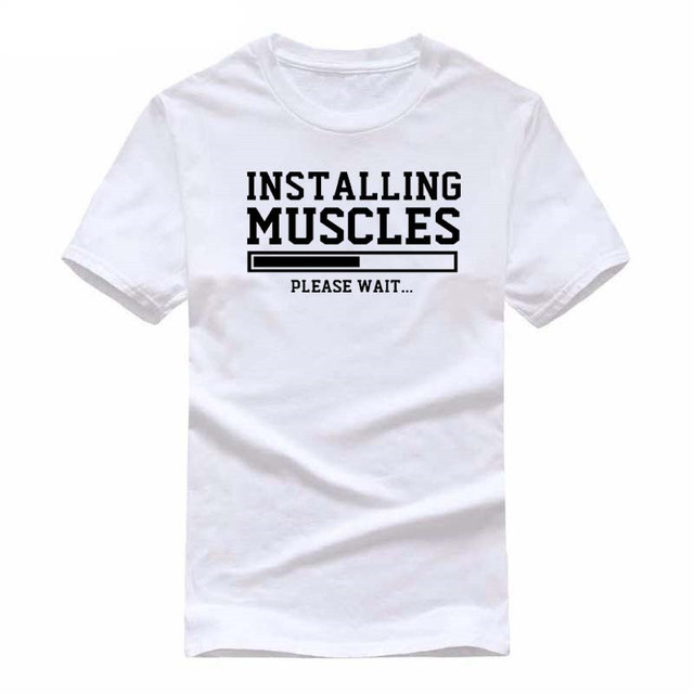 Men's T-shirts summer 2018 printed INSTALLING MUSCLES funny T-shirt fashion brand clothing crossfit t shirt men homme fitness 4
