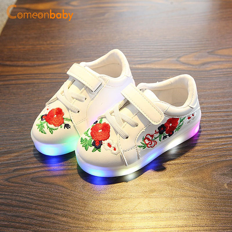 Kids Baby Toddler LED Light Flash Sneakers Boy Girl Luminous Casual Sports Shoes