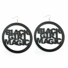80mm Unfinished Natural Wood Laser Cut Black Girl Magic Letters Africa Round Earrings Vintage African Wooden Afro Club Jewelry
