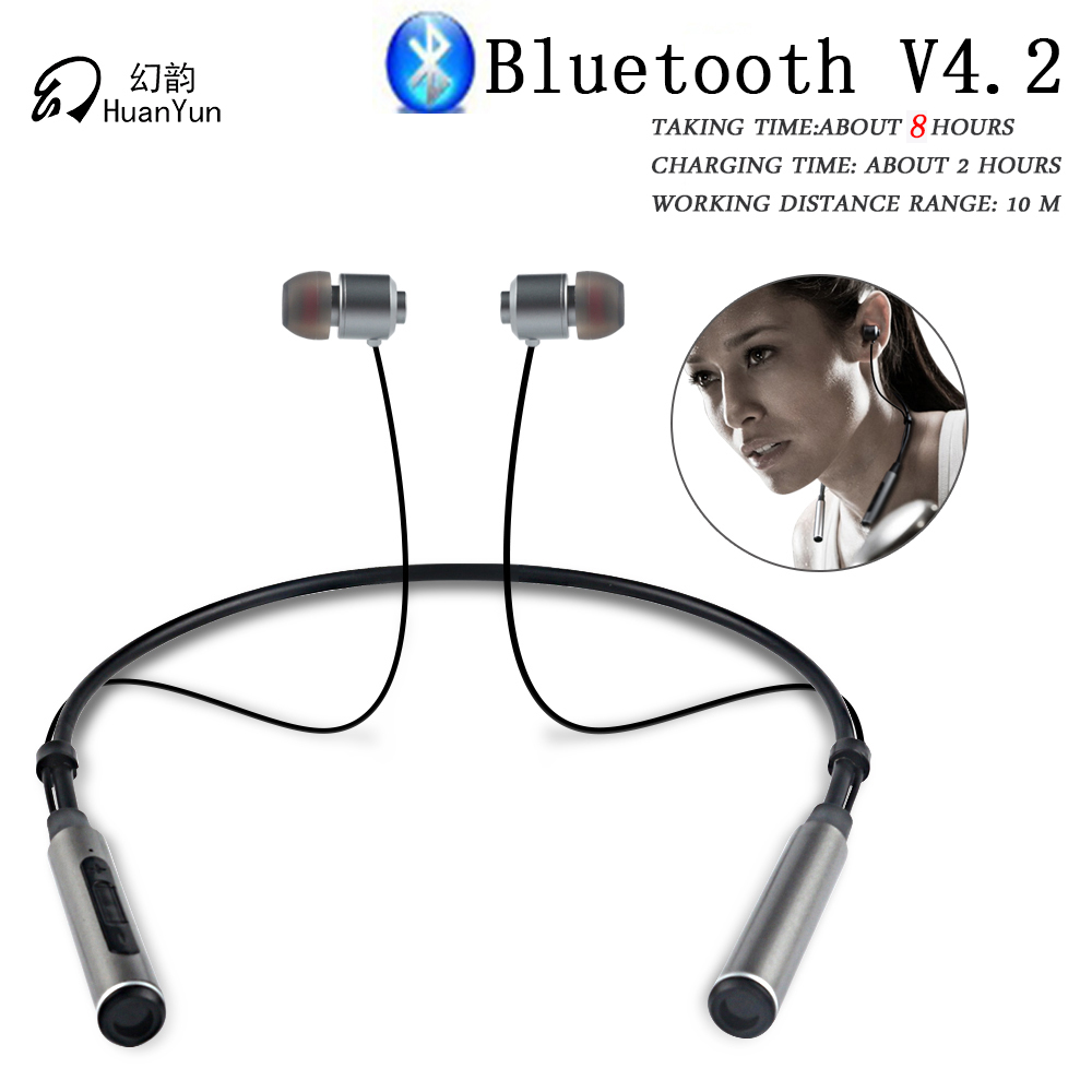 HuanYun Bluetooth Earphone Wireless Neckband Sport Stereo Bass Running Portable Magnetic Bluetooth Headphone Headset With Mic wireless headphones bluetooth headset sport running magnetic stereo neckband earphone with mic csr 4 1 for phone iphone samsung
