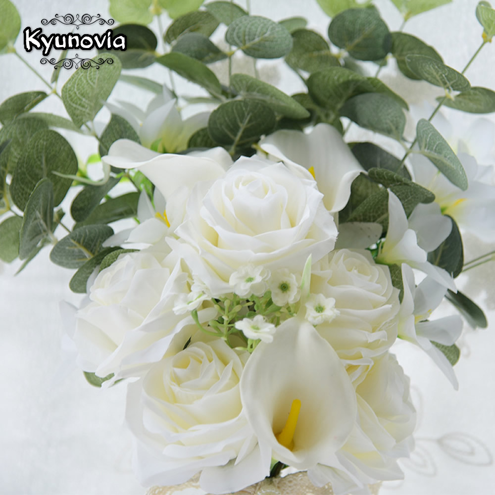 Image 4 - Kyunovia Boho Bridal Wedding Flowers Mini Bridesmaid Bouquet Real Touch White Calla Lily  Flowers Bridal Wedding Bouquet FE100Wedding Bouquets   -