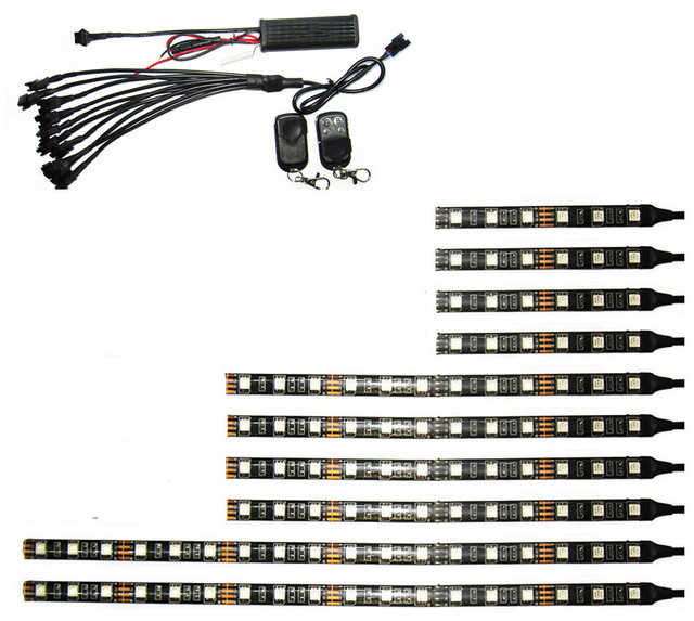 12V 10PCS RGB 5050SMD LED Car Motorcycle Glow Lights Flexible Neon Strips Kit Chopper Frame With Remote Controller Multi Color
