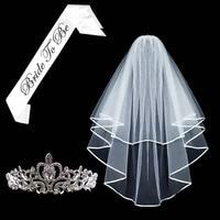 Bridal Veil Bride To Be Satin Sash Tiara Crown Glasses Bachelorette Party Hen Party Bridal Shower