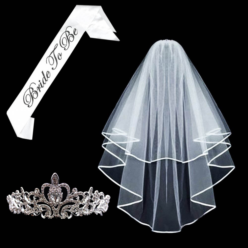 Bride to Be Set Veil /& black Satin Sash Hen Party Bridal Night Accessories