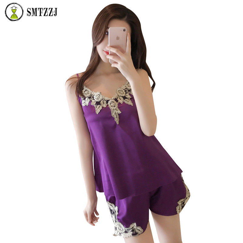 Sexy   Pajamas     Sets   For Women Lace Satin   Pajama   Summer Hot Sale High Quality Nightwear Fashion Lingerie Female Home wear nightgown